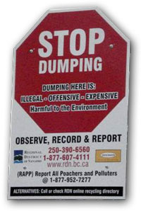 Illegal dumping sign