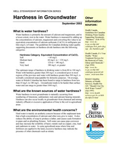 Hardness in Groundwater