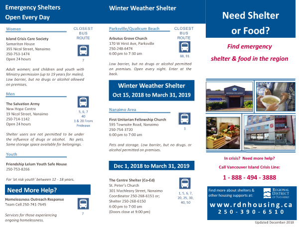 2019 Shelter and Food Brochure