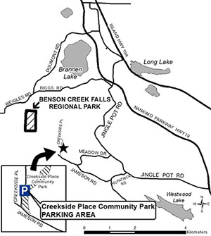 Map to Creekside Place parking lot