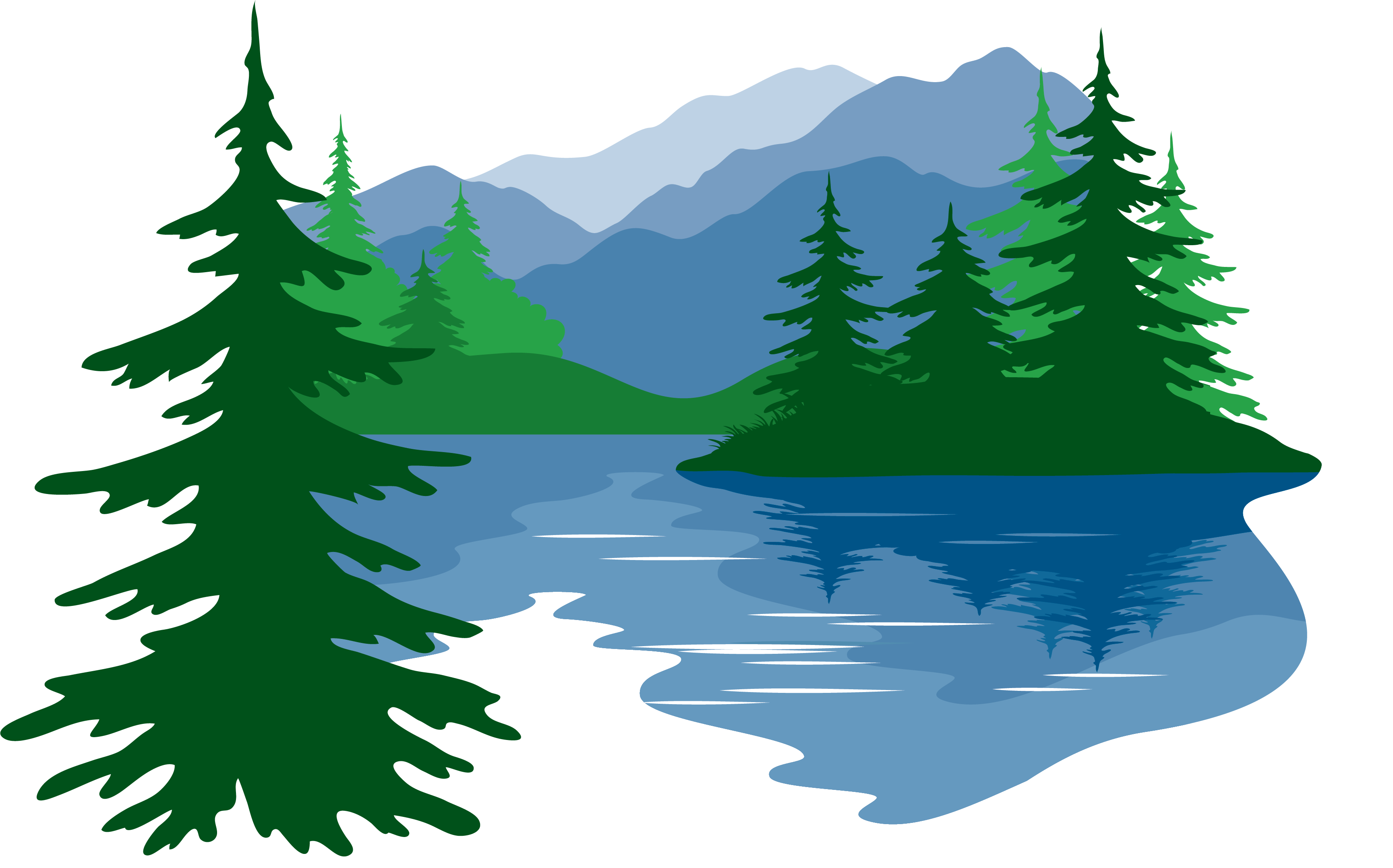 Forest, Lake, Mountains